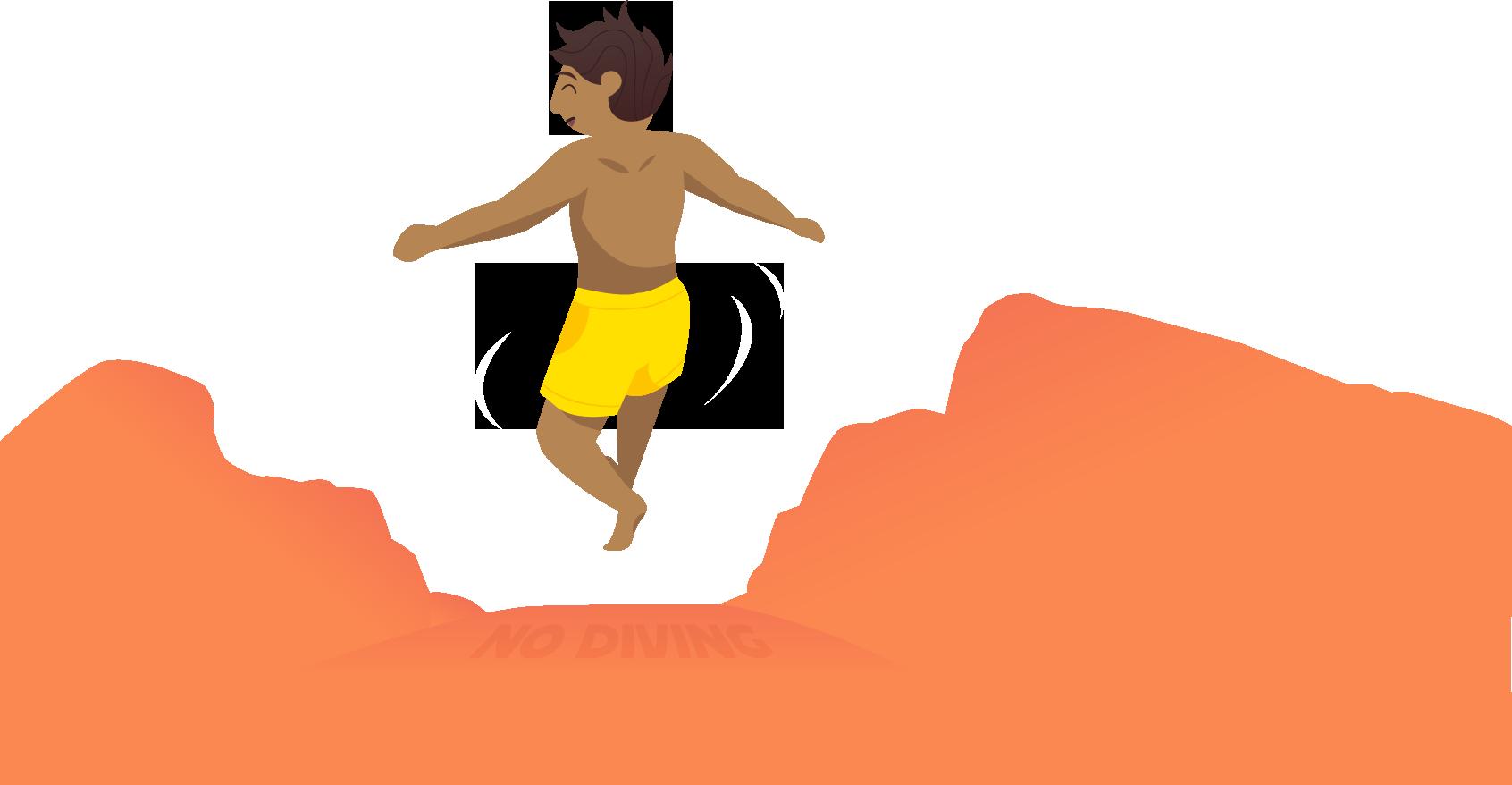 在迪恩蓝洞跳下悬崖